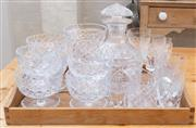 Sale 8550H - Lot 107 - An assortment of crystalwares including a decanter, sundry glasses, set of six dessert sundae dishes and water jug