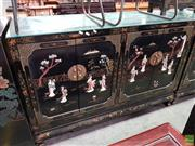 Sale 8580 - Lot 1082 - Oriental Inlaid Sideboard with Depicting Village Life on Doors (106.5 x 137.5 x 51.5cm)