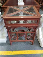 Sale 8617 - Lot 1062 - Early 20th Century Carved Walnut Display Cabinet, the envelope top with bevelled glass panels, above an open frame with rings & stre...