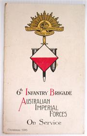 Sale 8639 - Lot 10 - Christmas Card 1916, 6th Infantry Brigade Australian Imperial Forces On Service, Card folds out to show 3 drawings by FR Crozier, Th...