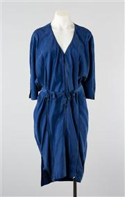 Sale 8740F - Lot 44 - An Acne blue silk zip up cocoon dress with belt,  size 34