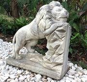 Sale 8857H - Lot 38 - A Carved Marble Lion Statue , General Wear , Aged, General Wear, Slight Chipping On Base, Size 70 cmH x 66cm W