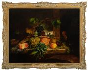 Sale 8908H - Lot 32 - GEORGE LANCE (1802 - 1864) British - Still Life with Fruit and Insect, 1834 signed and dated lower right, 71 x 92cm