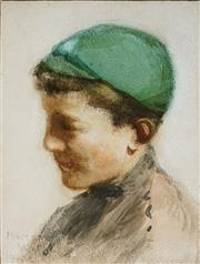 Sale 8947 - Lot 600 - Margery Withers (1874 - 1966) - Portait of a School Boy, 1920 21 x 15 cm (frame: 44 x 36 x 2 cm)