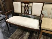 Sale 8942 - Lot 1090 - Late Victorian Two Seater Mahogany Inlaid Settee (H: 91, W: 108, D: 47cm)