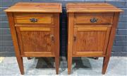 Sale 9009 - Lot 1055 - Pair Of Timber Bedsides With Single Door & Drawer (H78 x W51 x D37cm)