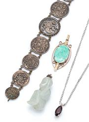 Sale 9083 - Lot 595 - A RUSSIAN SILVER COIN BRACELET AND THREE STONE SET PENDANTS; 10 & 15 Kopek coins with central coin cut out to illustrate a double ea...