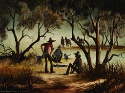 Sale 9150 - Lot 596 - ARTHUR HAMBLIN (1933 - ) - Death of a Cattle Dog 44.5 x 60 cm (frame: 56 x 71 x 4 cm)