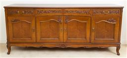 Sale 9140H - Lot 17 - A French style walnut veneered two drawer, four door side board opening to reveal a shelved interior, Height 90cm x Width 208cm x De...