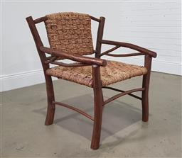 Sale 9255 - Lot 1277 - Timber carver with woven seat (h:90 x w:70 x d:64cm)