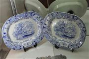Sale 8047 - Lot 27 - Pair of Large Victorian Blue and White Warwick Vase Platters by Elkin & Newborne