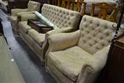Sale 8087 - Lot 1067 - Lounge Sating in Two Seater Button Back Settee And Two Matching Armchairs