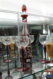 Sale 8283 - Lot 36 - Etched Ruby Glass Decanter with Red Stem Wine Glasses