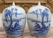 Sale 8435A - Lot 74 - A pair of Chinese blue and white lidded jars with scenes of fisherman and character marks to covers, H 34cm