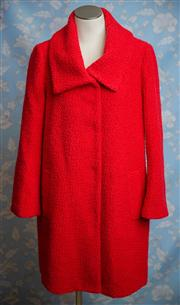 Sale 8577 - Lot 151 - A 1950s style Leona Edmiston Red Boucle Woollen Coat, size 10/ 12, Condition: As New, Excellent