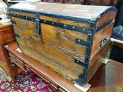 Sale 8570 - Lot 1021 - Rustic Timber Metal Bound Dome Top Trunk