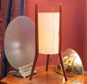 Sale 8625A - Lot 85 - An Art Deco frosted glass disc lamp, together with a chrome wall sconce, and a retro timber and cylindrical shade.