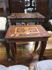 Sale 8740 - Lot 1536 - Inlayed Sewing Tables x 2