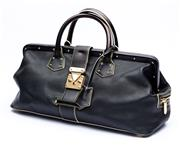 Sale 8921 - Lot 25 - A LOUIS VUITTON SUHALI LINGENIEUX BLACK LEATHER DOCTORS BAG; in black goat leather with white stitching and gold hardware with 2 ke...