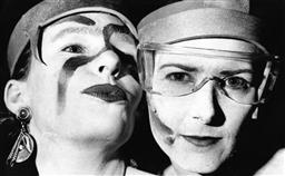 Sale 9082A - Lot 5008 - Lilly and Cheryl show off their makeup, Sydney Gay and Lesbian Mardi Gras Parade (1992), 29 x 18 cm, silver gelatin, Photographer: B...