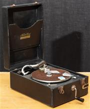 Sale 8984H - Lot 305 - A cased wind up gramophone by National Band Gramophone Co.