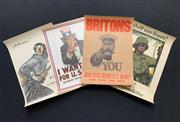 Sale 9045 - Lot 2014 - Group of (4) Vintage Word War II Conscription Posters published by The Imperial War Museum incl: Lord Kitchener Wants You and Unc...