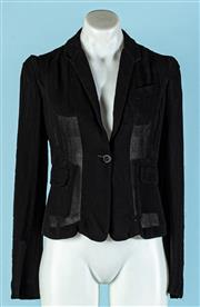 Sale 9090F - Lot 175 - A GIVENCHY JACKET; in black viscose with puffed shoulders and two side pockets, Size EUR 36/6