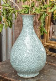 Sale 9060H - Lot 21 - An oriental crackle glaze vase in duck egg blue. Height 38cm
