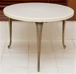 Sale 9155H - Lot 99 - A marble topped occasional table raised over three metal legs Height 36.5cm x Diameter 51cm