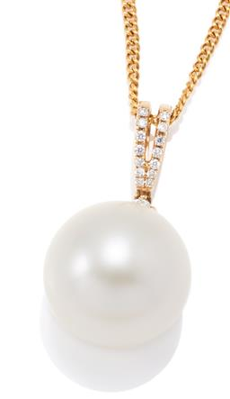 Sale 9177 - Lot 396 - AN 18CT GOLD SOUTH SEA PEARL AND DIAMOND PENDANT NECKLACE; featuring a 14.9mm round cultured pearl of fine colour and lustre suspend...