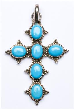 Sale 9164 - Lot 505 - Sterling Silver and Turquoise Set Cross, Marked 925, (H:7cm, wt 12grams)