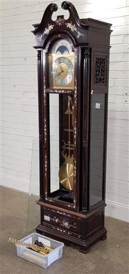 Sale 9183 - Lot 1072 - Chinese rosewood longcase clock with mother of pearl inlay (h:220 x w:60 x d:38cm)