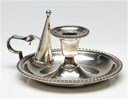 Sale 9209 - Lot 14 - An EPNS candlestick on dish base with snuffer (Dia:15.5cm)