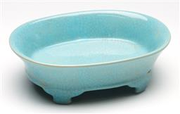 Sale 9246 - Lot 63 - A blue Chinese crackle glaze dish on four elevated feet (L:19.5cm)