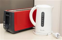 Sale 9239H - Lot 93 - A Sunbeam red four slice toaster, together with a Breville kettle.