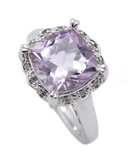 Sale 9253J - Lot 308 - A SILVER AMETHYST AND DIAMOND DRESS RING; featuring a cushion cut pale amethyst of approx. 4ct to surround set with 12 single cut di...