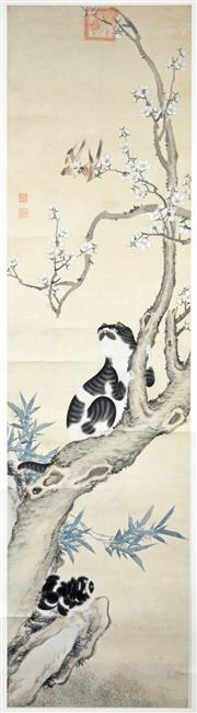 Sale 8203A - Lot 57 - Chinese School (Qing Dynasty) (XIX - XX) - Songbirds & Cats In A Cherry Blossom Tree 146 x 39cm