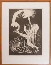Sale 8270 - Lot 37 - Arthur Boyd - Lady and The Unicorn Series, The Unicorn in the Forrest 60 x 43cm
