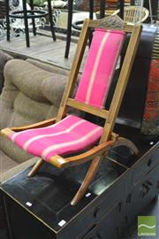 Sale 8326 - Lot 1233 - Folding Timber Childs Chair In Pink Upholstery
