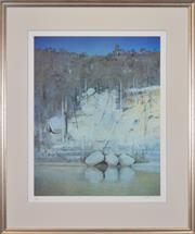 Sale 8401 - Lot 543 - Arthur Boyd (1920 - 1999) - Three Boulders, Shoalhaven River 68 x 54.5cm