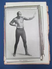 Sale 8450S - Lot 747 - 22 Boxing Portraits - 14 early NPG supplements including Jack Johnson, Willard, Jefferies, some cut to size; plus 8 early portraits...
