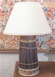 Sale 8550H - Lot 147 - A pair of decorative lamps with banana leaf and organic  decoration with cream silk shade, H 78cm