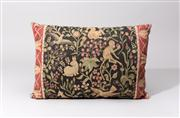 Sale 8716A - Lot 82 - A vintage cotton tapestry cushion, with various birds and animals amidst florals and folliage, the back in velvet