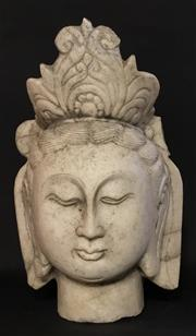 Sale 8857H - Lot 40 - An Antique Carved Marble Chinese Temple Guan Yin  Sculpture ,General Wear ,Some Cracking / Previous Repair ,Size 40Cm