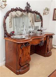 Sale 8908H - Lot 48 - A magnificent mid C19th flame mahogany sideboard of grand proportions, mirrored back with fruiting vine surround. Height approx 210c...