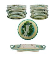 Sale 8972H - Lot 20 - French majolica 19 piece asparagus serving set, 18 plates measuring 24 cm and large serving platter 41 x 24 cm