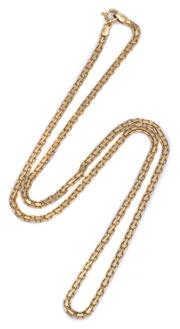 Sale 9012 - Lot 311 - A 14CT GOLD BISMARK CHAIN; 2.8mm wide chain to a bolt ring clasp, length 51cm, wt. 7.19g.