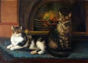 Sale 9013A - Lot 5061 - Artist Unknown - Two Cats 61 x 85 cm (frame: 85 x 109 x 6 cm)