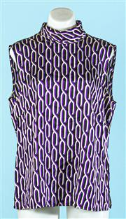 Sale 9090F - Lot 81 - AN ESCADA HIGH NECK SILK BLOUSE; with purple reapeating gemoetric pattern all over, Size EUR 42