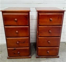 Sale 9112 - Lot 1058 - Pair of oversized 4 drawer pine chests (h:90 x w:44 x d:47cm)
